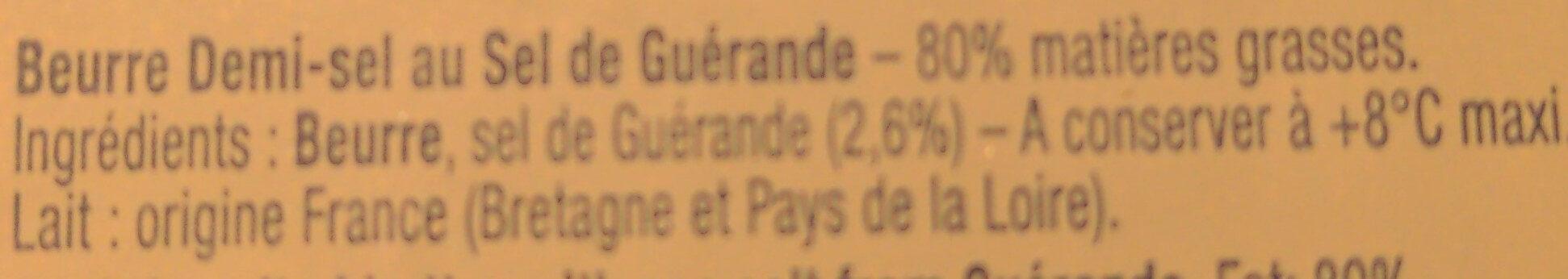Beurre Aux Cristaux de Sel de Guérande - Ingrédients - fr