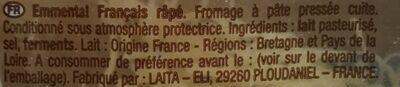 L'Emmental Francais Rapé - Ingrédients - fr