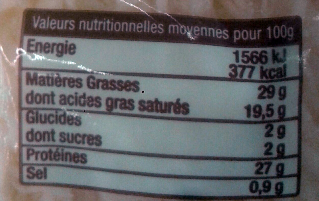 L'Emmental Francais Rapé - Informations nutritionnelles - fr