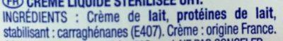 Crème - Ingrédients - fr