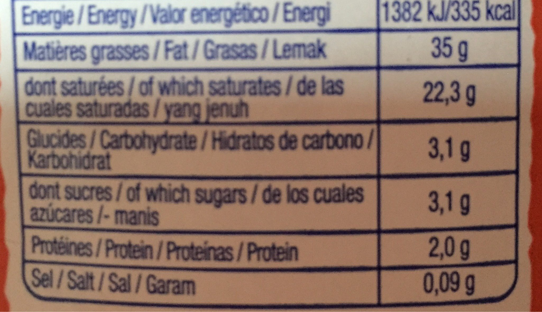Crème - Informations nutritionnelles - fr
