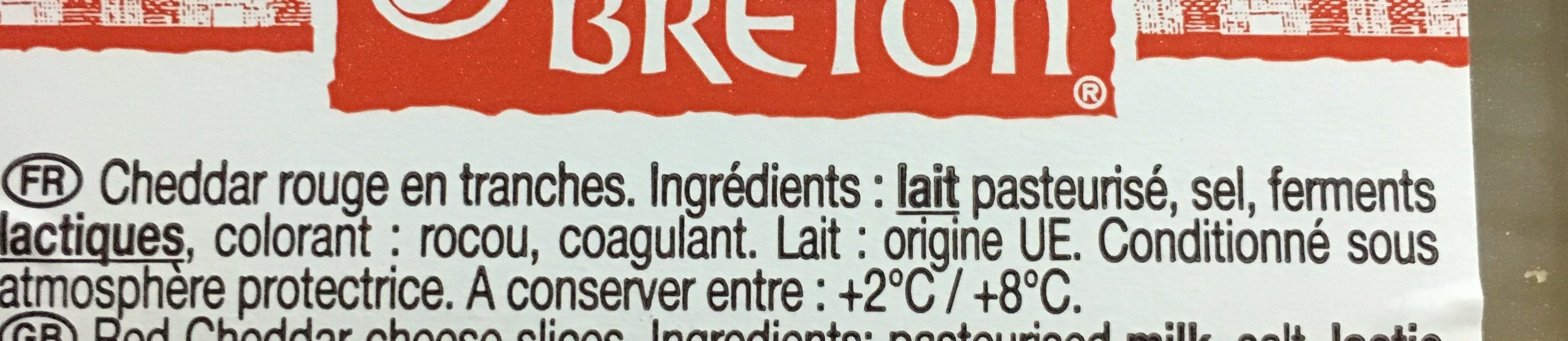 Le Cheddar - Ingredients - fr