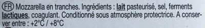 La mozarella - Ingrediënten - fr