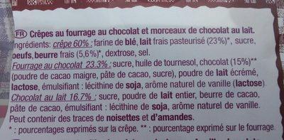 Crêpes au fondant et morceaux de chocolat - Ingredients - fr