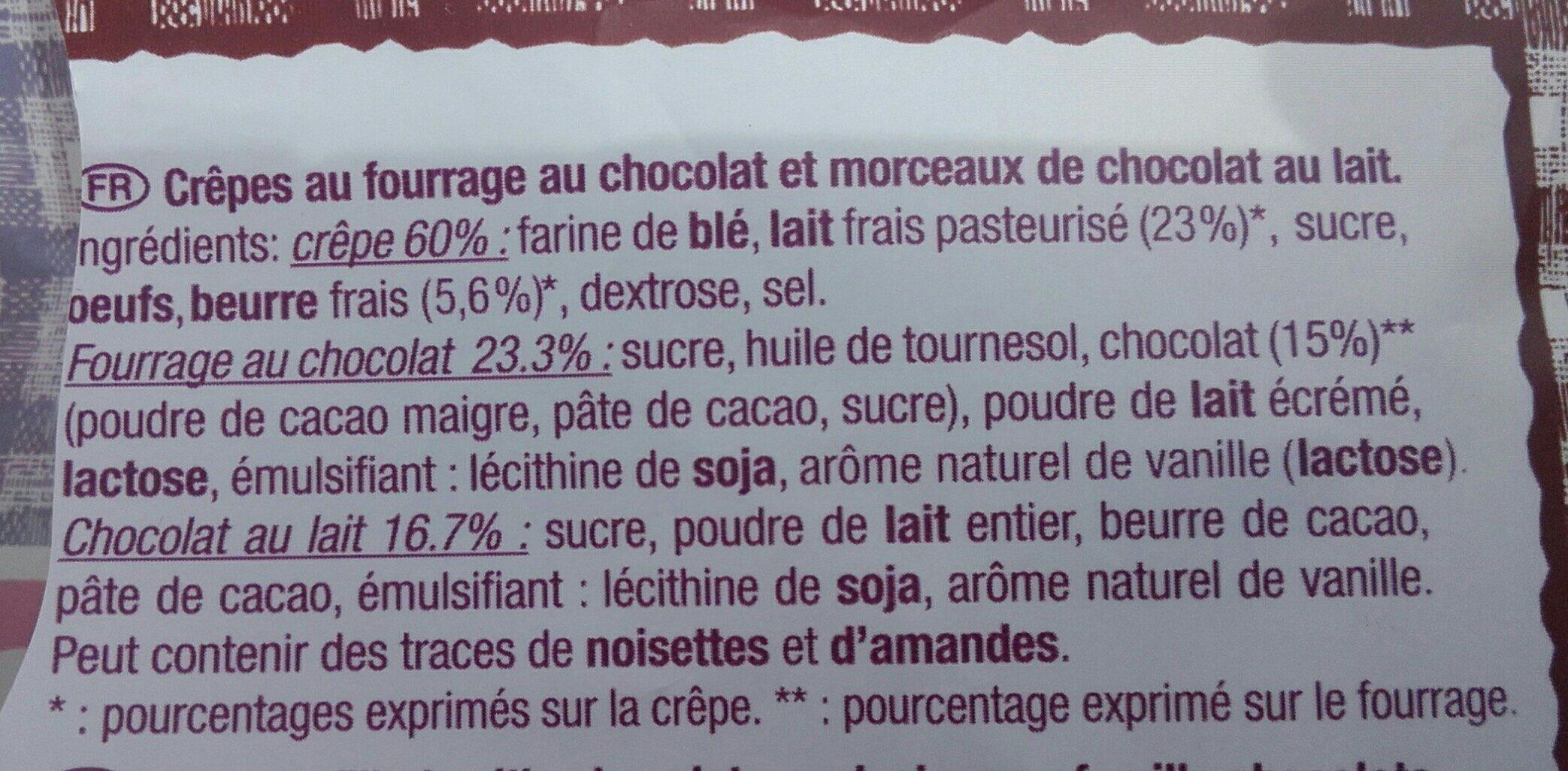 Crêpes fourrées au chocolat - Ingrédients - fr