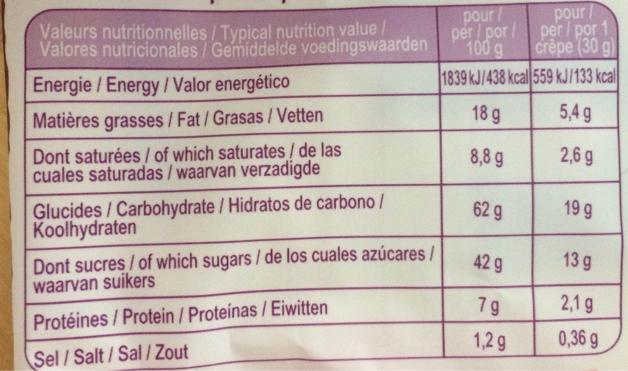 Crêpes au fondant et morceaux de chocolat - Nutrition facts - fr
