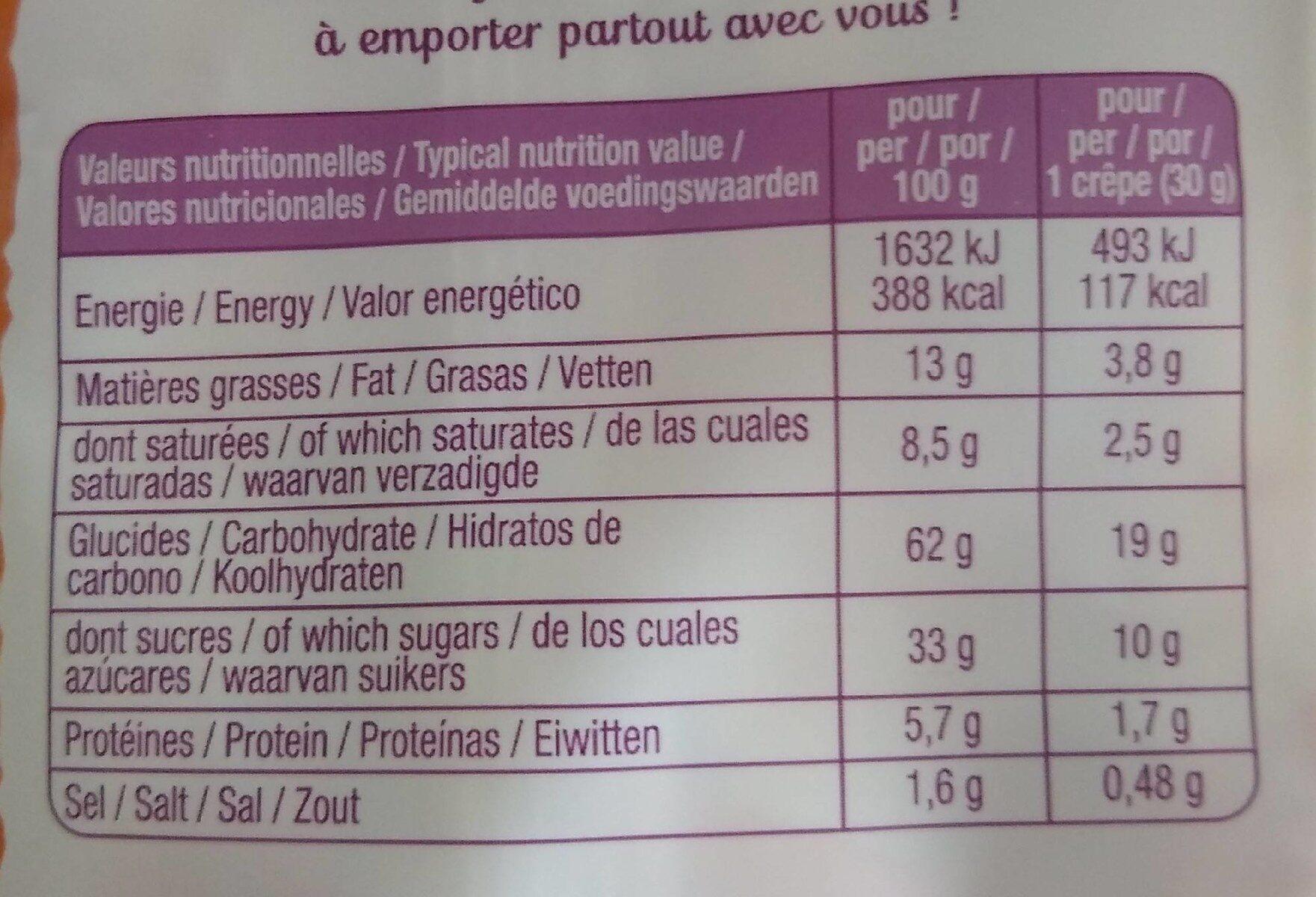 Crêpes au caramel au beurre salé - Informations nutritionnelles - fr