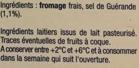 Le Fromage Fouetté - Ingrédients - fr