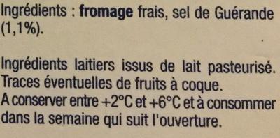 Le Fromage Fouetté - Ingrédients