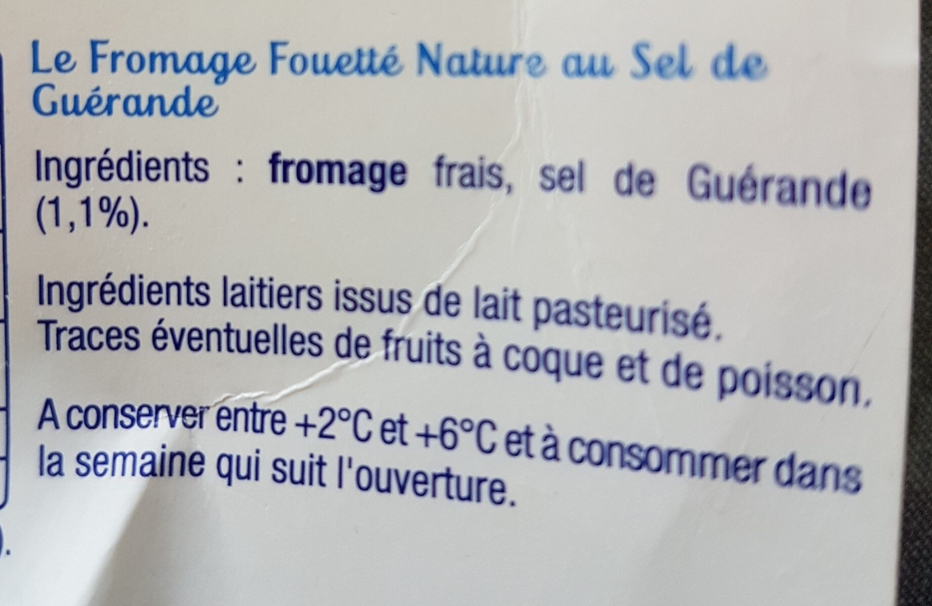 Fromage fouetté Madame Loïk - Ingredients - fr