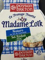 Fromage fouetté de Madame Loïk Nature -25% Sel - Produit - fr