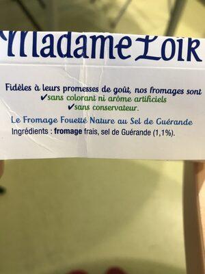 Le Fromage Fouetté Madame Loïk Nature - Ingrédients - fr