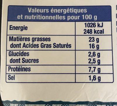 Fromage fouetté au bleu Les Recettes de Madame Loïc - Informations nutritionnelles - fr