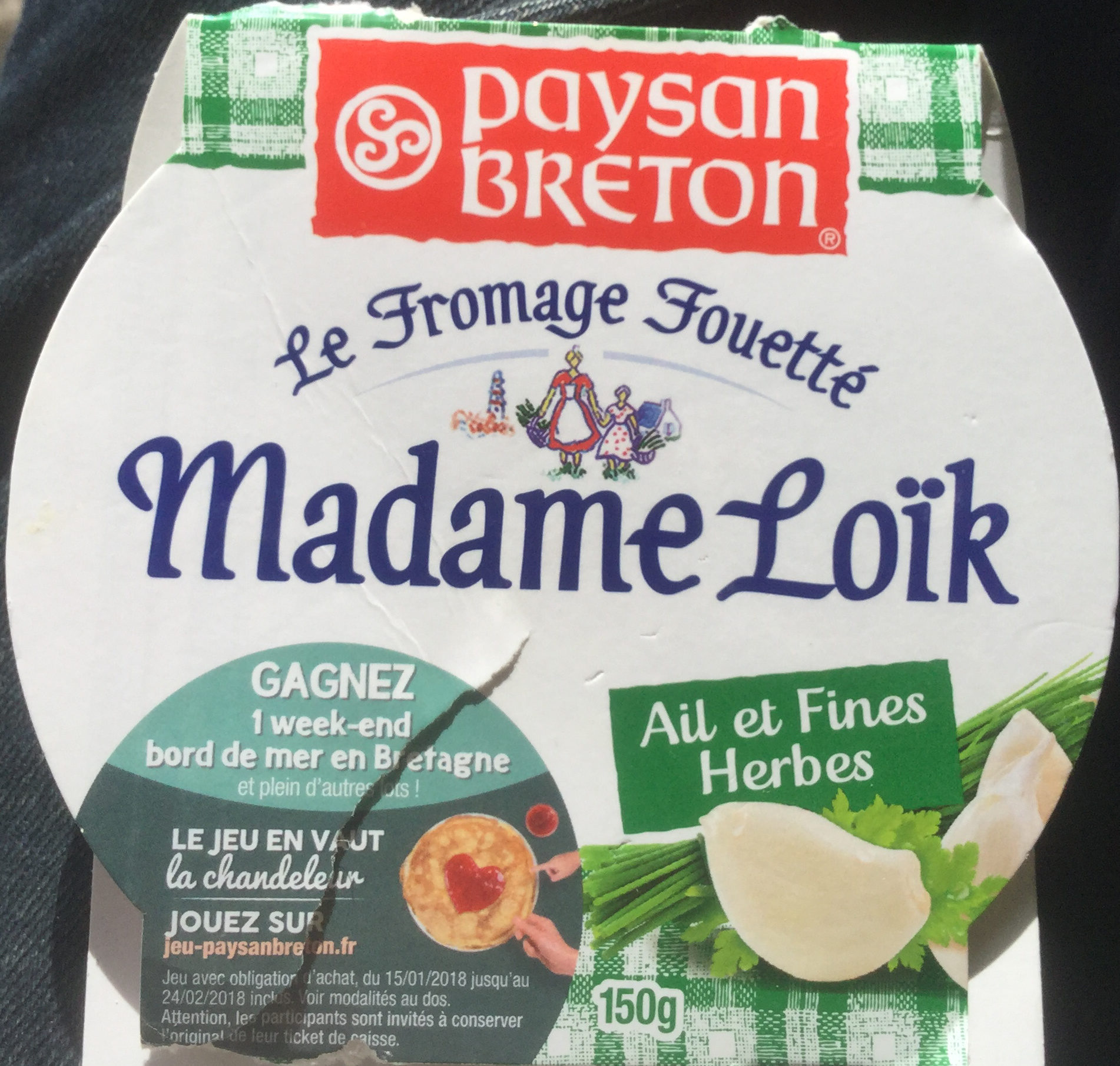 Le Fromage Fouetté Madame Loïk, Ail & Fines Herbes (23 % MG) - Product