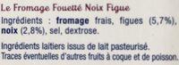Le Fromage Fouetté Madame Loïk, Noix Figue (24% MG) - Ingrediënten