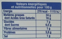 Le Fromage Fouetté Madame Loïk, Noix Figue (24% MG) - Voedigswaarden