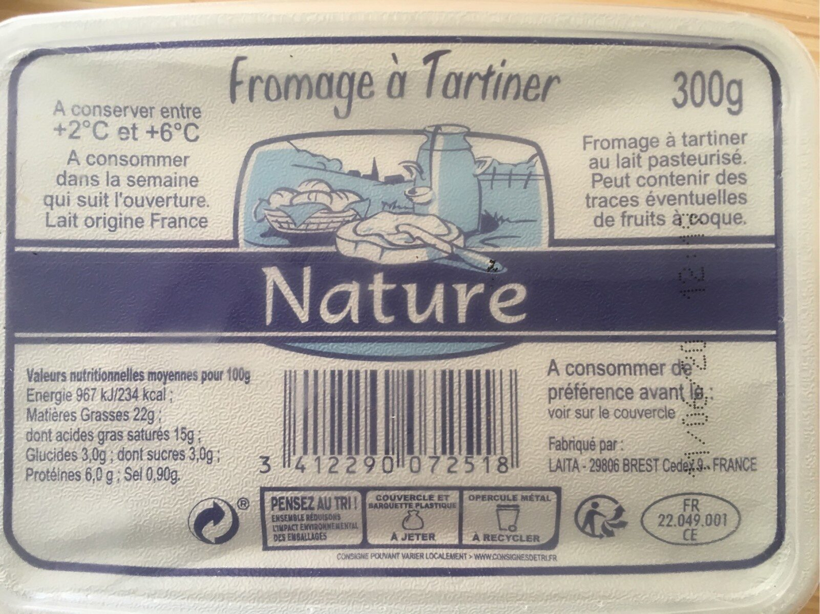 Fromage a tartiner nature - Produit - fr