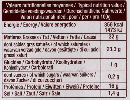 La Brique (32 % MG) - Informations nutritionnelles - fr