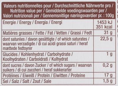 La Brique Tradition (31 % MG) - Nutrition facts