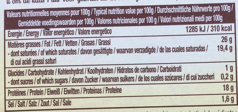 Le camembert pays - Informations nutritionnelles - fr