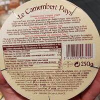 Le camembert pays - Nutrition facts - fr