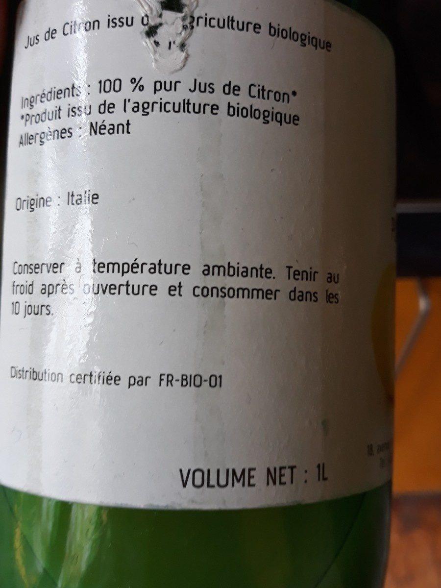 jus de citron pur  biologique - Ingrédients