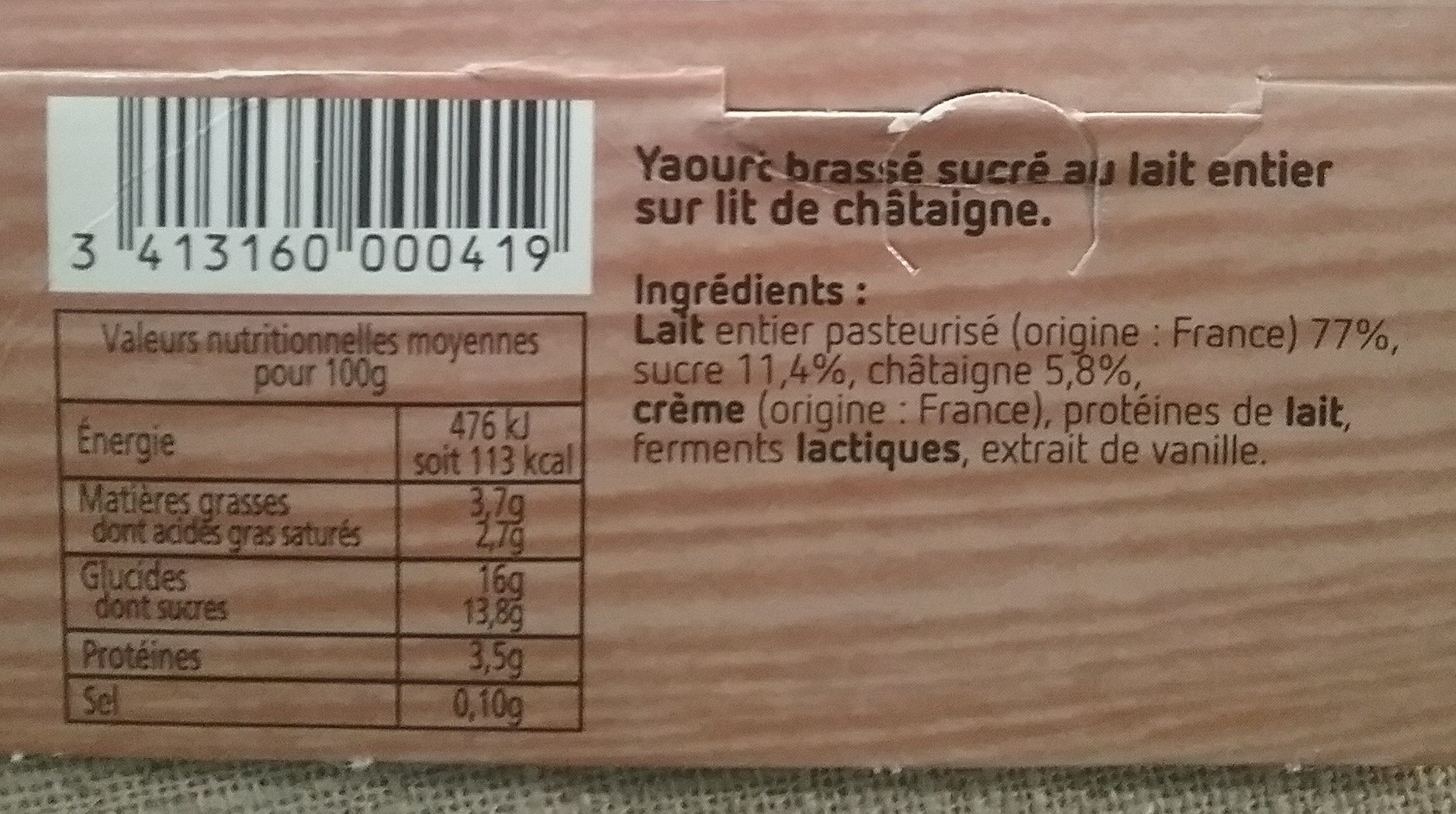 Yaourt brassé sucré au lait entier sur lit de fruits Châtaigne - Ingredients