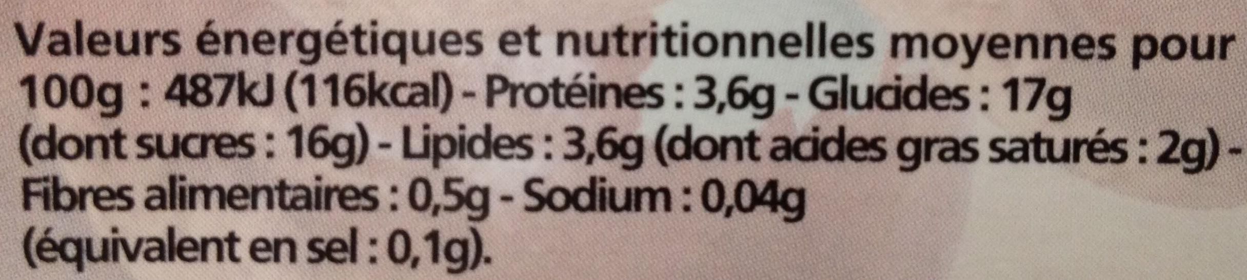 Yaourt brassé sucré au lait entier sur lit de fruits Châtaigne - Nutrition facts