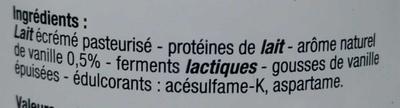 Yaourt 0% vanille - Ingrédients