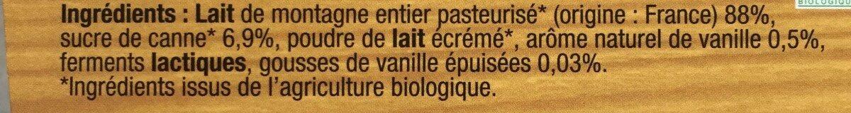 Yaourt bio vanille - Ingredients - fr