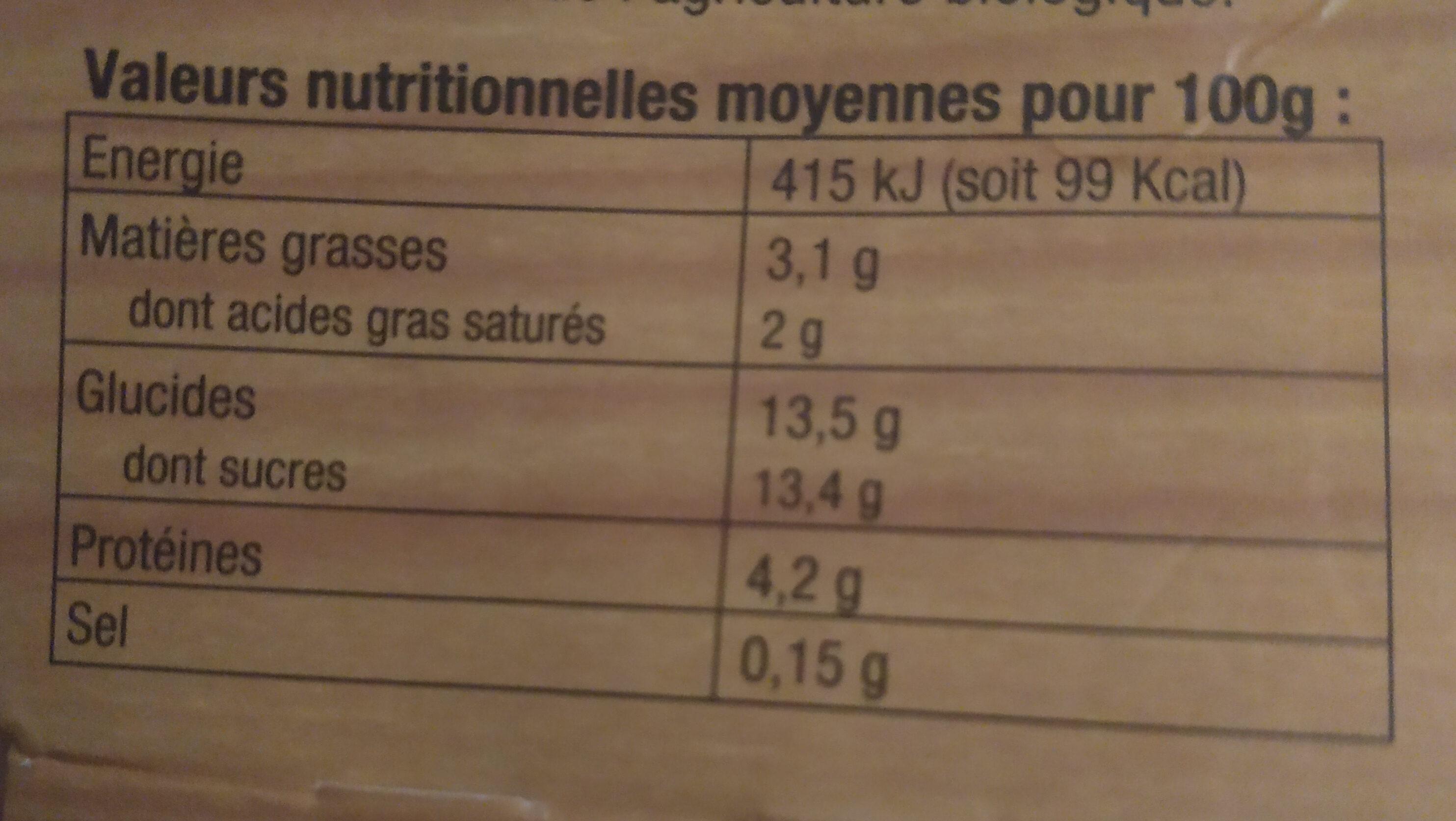 Yaourt bio vanille - Nutrition facts - fr