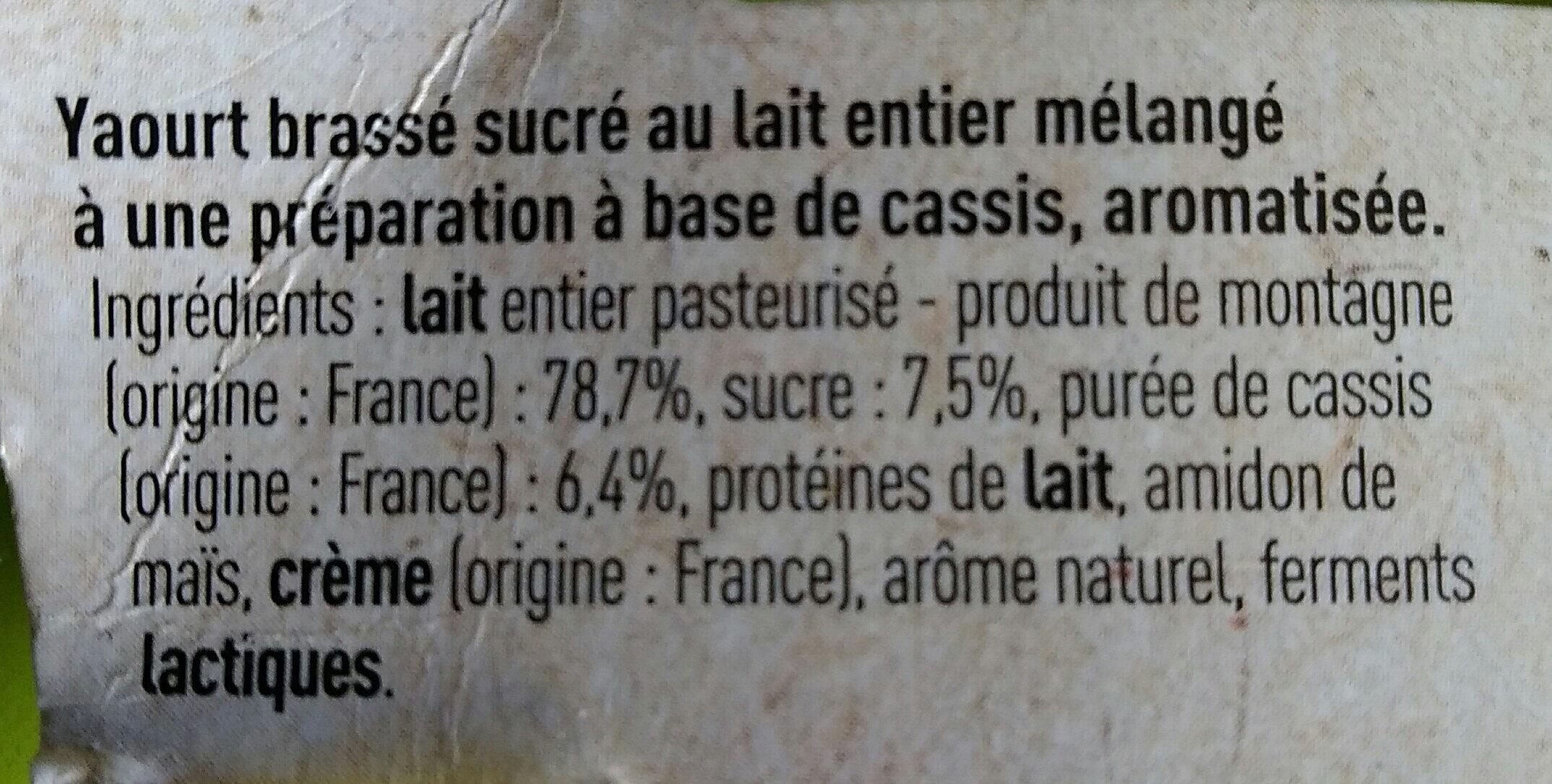 Yaourt Cassis - Ingrédients - fr