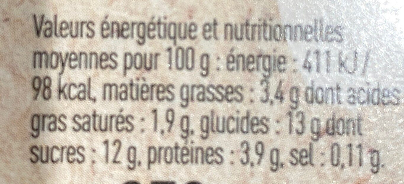 Yaourt Cassis - Informations nutritionnelles - fr