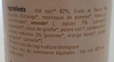 Thé noir de noël fruits fleurs et épices - Ingredienti - fr