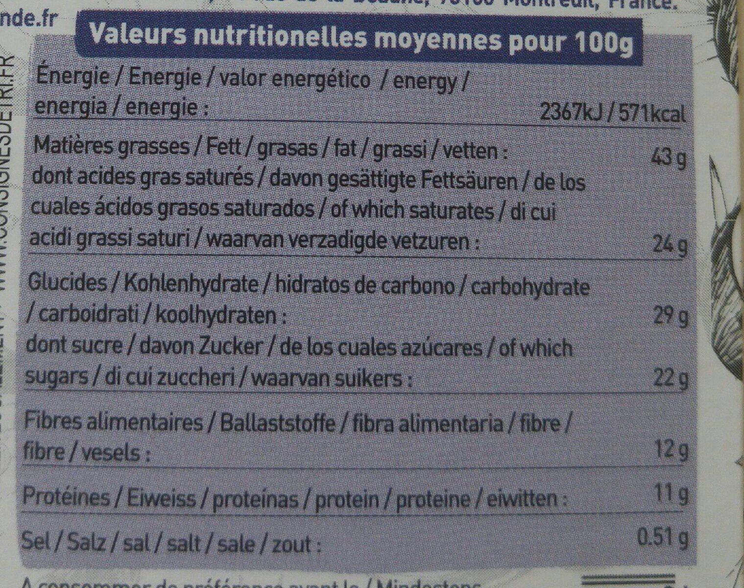 Noir 72 %  amandes amarantes & sel se guérande - Nutrition facts