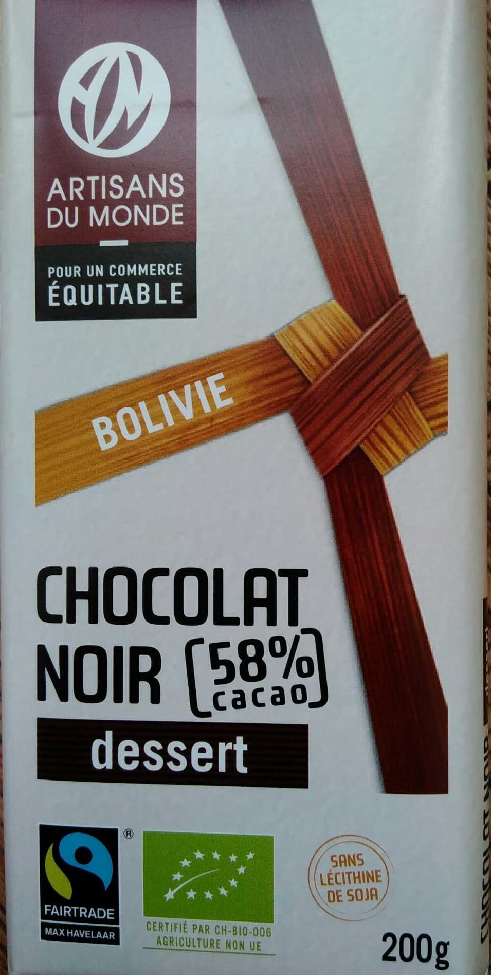 Chocolat noir dessert 58% cacao, Bolivie - Product