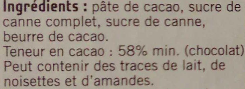 Chocolat noir dessert 58% cacao, Bolivie - Ingredients