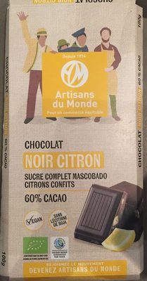 Chocolat Noir Citron (60% cacao) - Produit