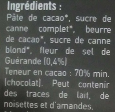 Chocolat noir (70%) à la fleur de sel de Guérande - Ingrediënten