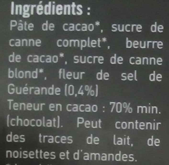 Chocolat noir (70%) à la fleur de sel de Guérande - Ingredients