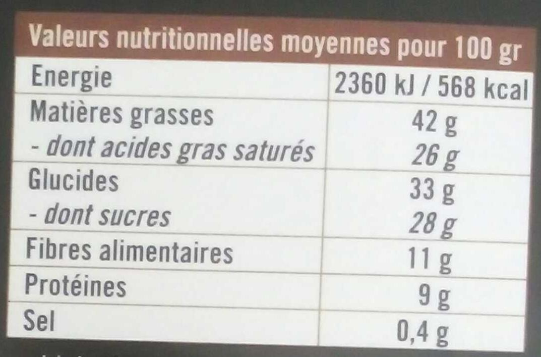 Chocolat noir (70%) à la fleur de sel de Guérande - Voedingswaarden