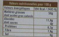 Noix de coco râpée - Voedingswaarden - fr
