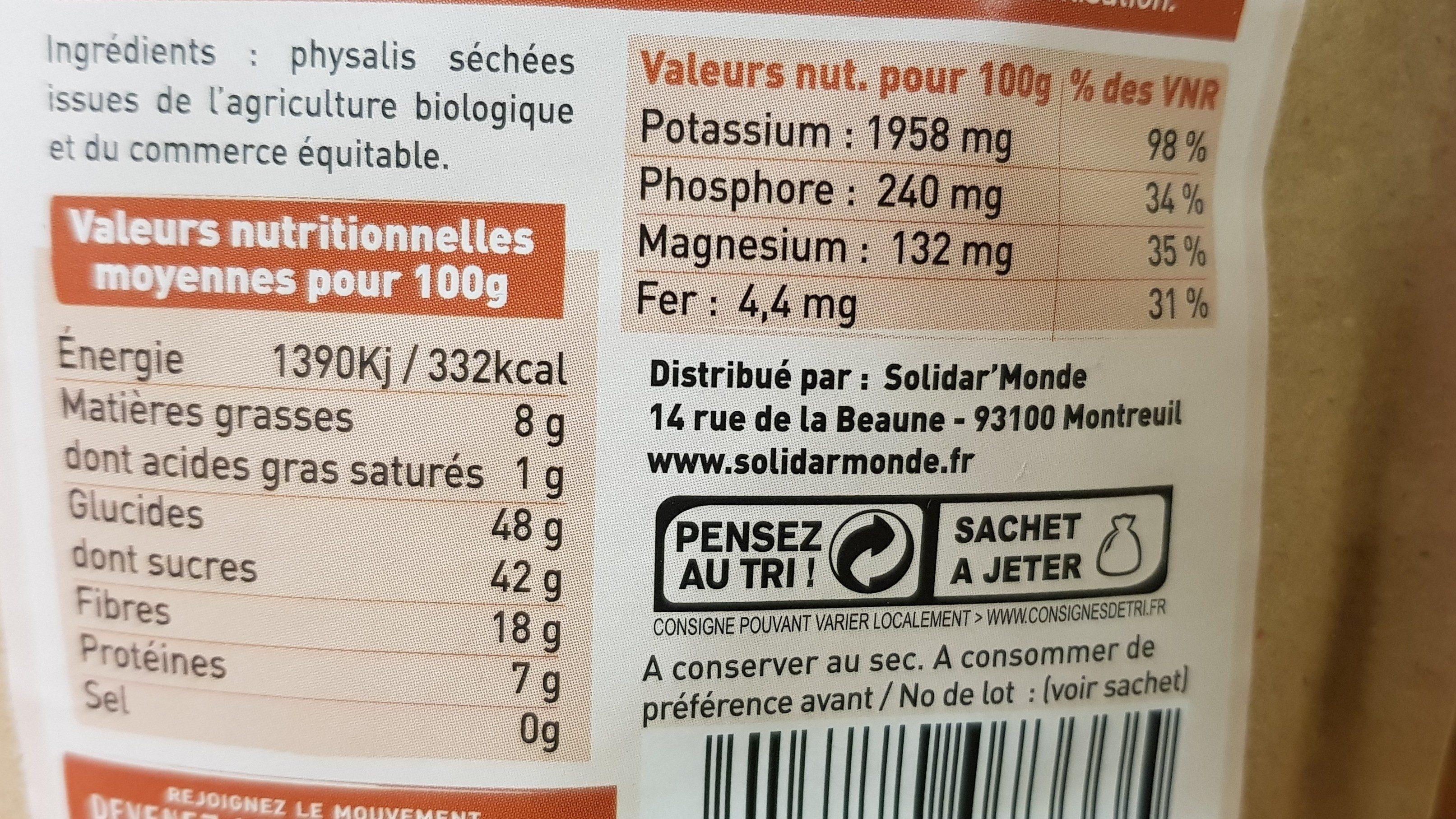 Physalis séchée colombie - Ingredients - fr