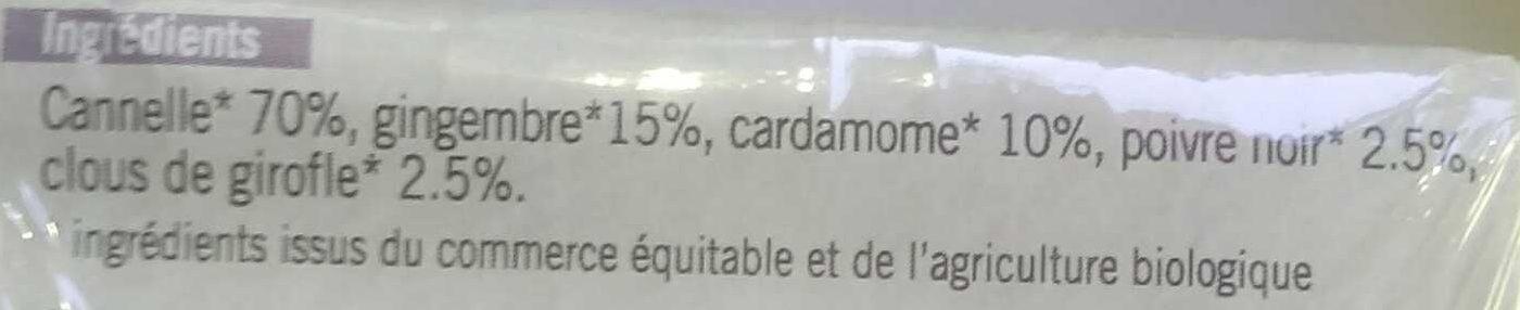 Mélange d'Épices Pour Infusion Tchaï - Ingrediënten - fr