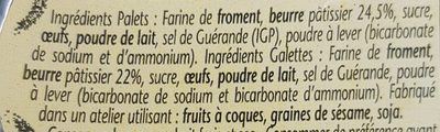 Galettes et Palets Bretons - Ingredients