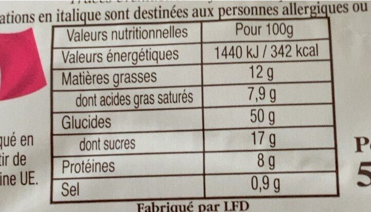 Gache pur beurre - Valori nutrizionali - fr