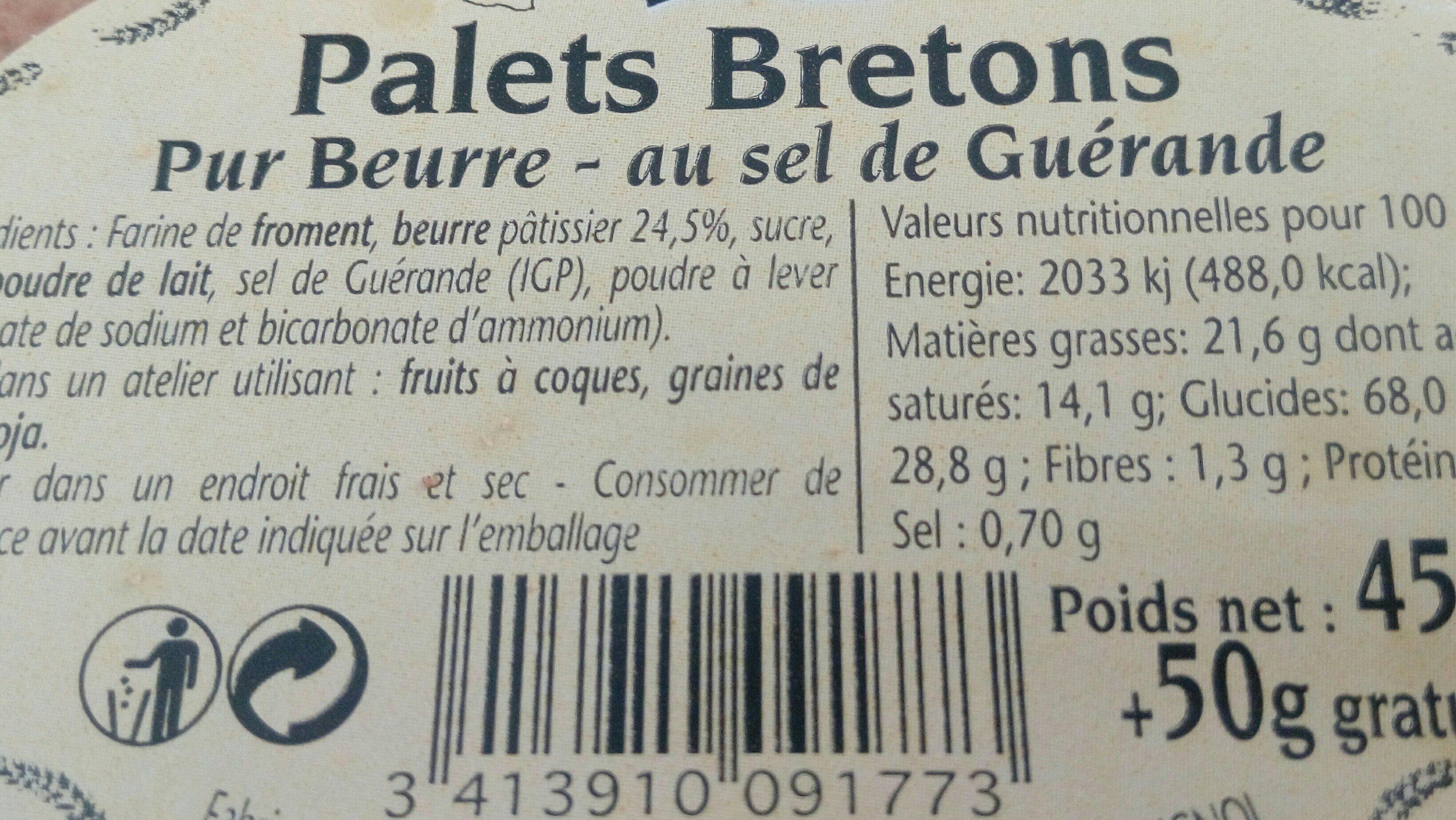Palets bretons - Ingrédients - fr