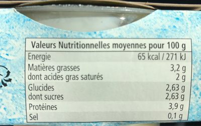 Yaourts fermiers natures - Nutrition facts