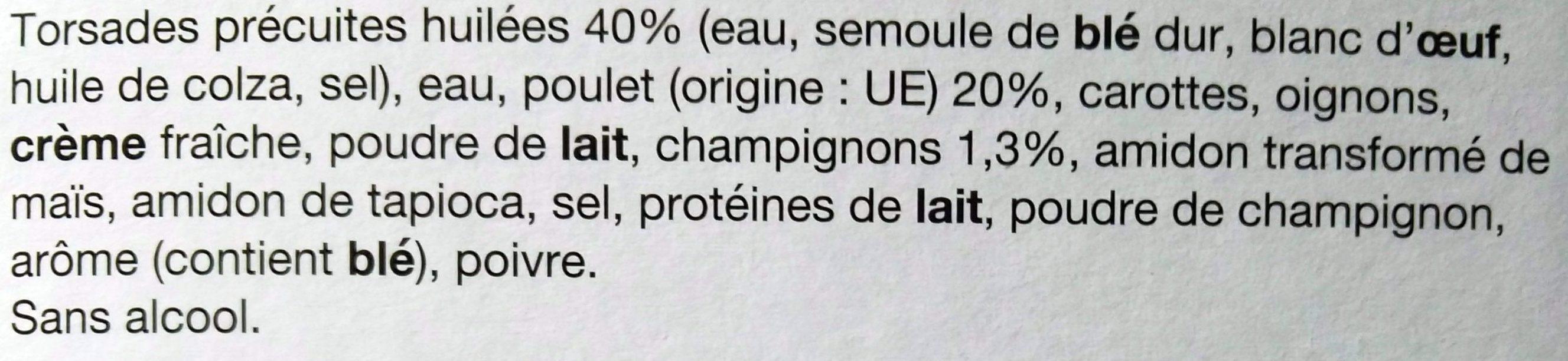 Émincé de Poulet, Sauce Champignon et ses Pâtes - Ingrédients - fr