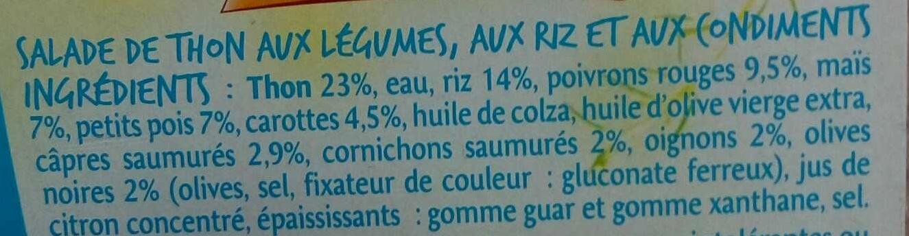Salade riz au thon - Ingrédients - fr
